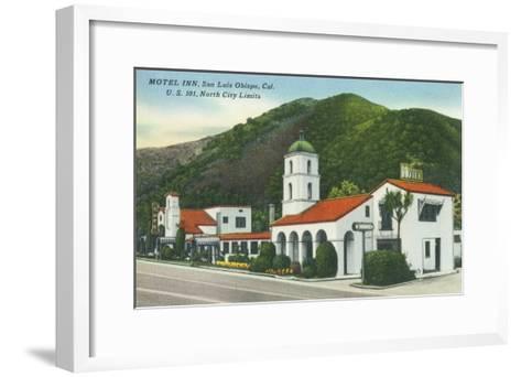 Exterior View of the Motel Inn - San Luis Obispo, CA-Lantern Press-Framed Art Print