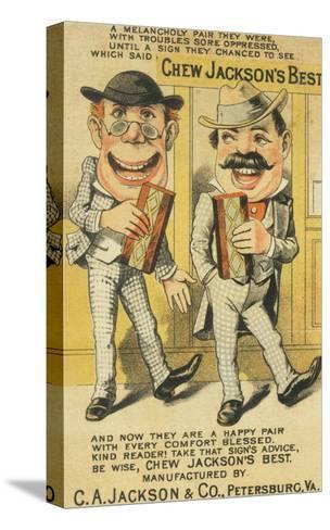 Jackson's Best Chew Advertisement, Happy Pair of Men - Petersburg, VA-Lantern Press-Stretched Canvas Print
