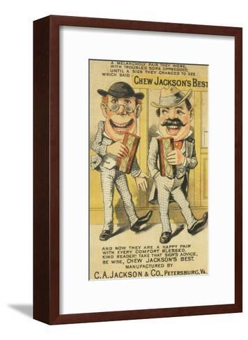 Jackson's Best Chew Advertisement, Happy Pair of Men - Petersburg, VA-Lantern Press-Framed Art Print