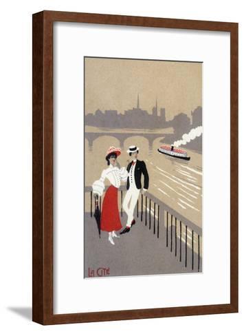 La Cite Art Deco Scene of Couple Watching Riverboat - Paris, France-Lantern Press-Framed Art Print