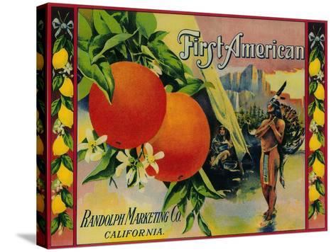 First American Lemon Label - California State-Lantern Press-Stretched Canvas Print