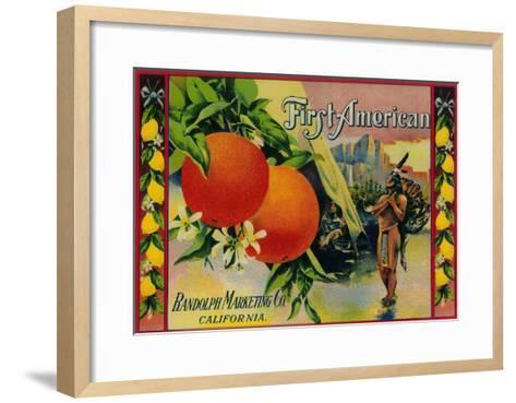 First American Lemon Label - California State-Lantern Press-Framed Art Print