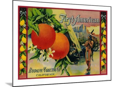 First American Lemon Label - California State-Lantern Press-Mounted Art Print