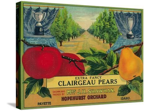 Hopehurst Pear Crate Label - Payette, ID-Lantern Press-Stretched Canvas Print