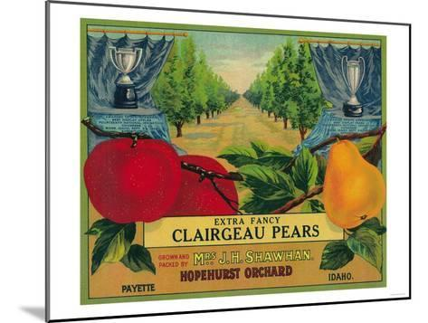 Hopehurst Pear Crate Label - Payette, ID-Lantern Press-Mounted Art Print