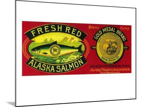 Gold Medal Salmon Can Label - Kodiak Island, AK-Lantern Press-Mounted Art Print