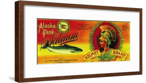 Helmet Salmon Can Label - Loring, AK-Lantern Press-Framed Art Print