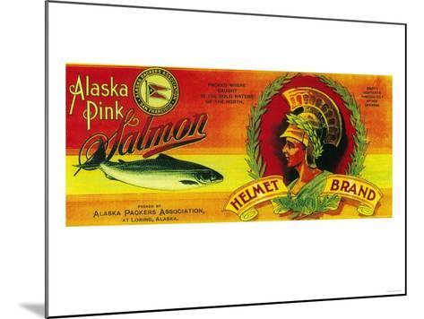 Helmet Salmon Can Label - Loring, AK-Lantern Press-Mounted Art Print