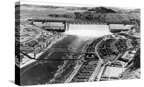 Grand Coulee Dam View from Air Photograph - Grand Coulee, WA-Lantern Press-Stretched Canvas Print