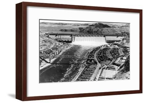 Grand Coulee Dam View from Air Photograph - Grand Coulee, WA-Lantern Press-Framed Art Print