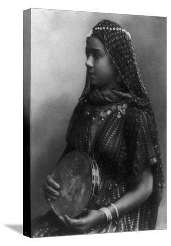 Egyptian Dancing Girl with Tambourine Photograph - Egypt-Lantern Press-Stretched Canvas Print