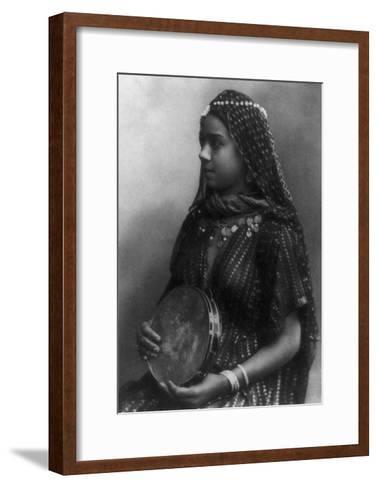 Egyptian Dancing Girl with Tambourine Photograph - Egypt-Lantern Press-Framed Art Print