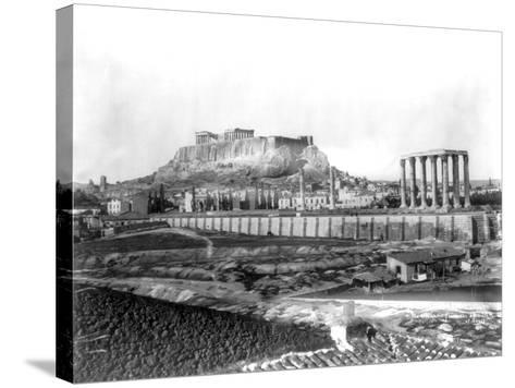 Distant View of the Parthenon in Athens Photograph - Athens, Greece-Lantern Press-Stretched Canvas Print