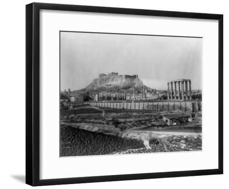 Distant View of the Parthenon in Athens Photograph - Athens, Greece-Lantern Press-Framed Art Print