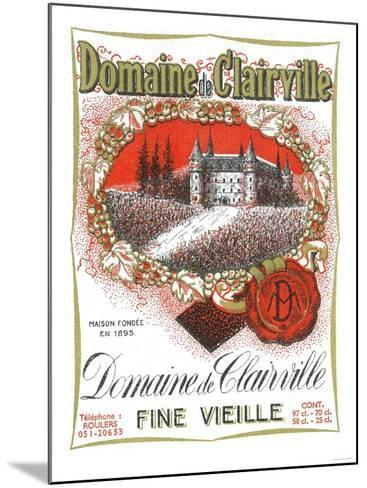 Domaine De Clairville Wine Label - Europe-Lantern Press-Mounted Art Print