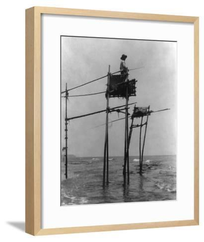 Japanese Fisherman in Bamboo Tower Photograph - Kamakura, Japan-Lantern Press-Framed Art Print