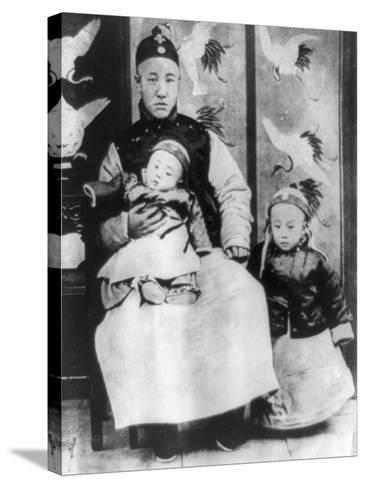 Emperor Pu Yi with Father and Brother Photograph - China-Lantern Press-Stretched Canvas Print