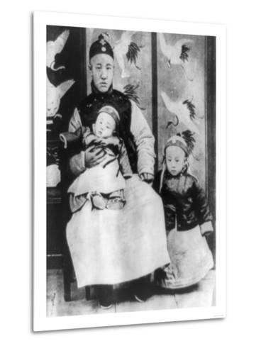 Emperor Pu Yi with Father and Brother Photograph - China-Lantern Press-Metal Print