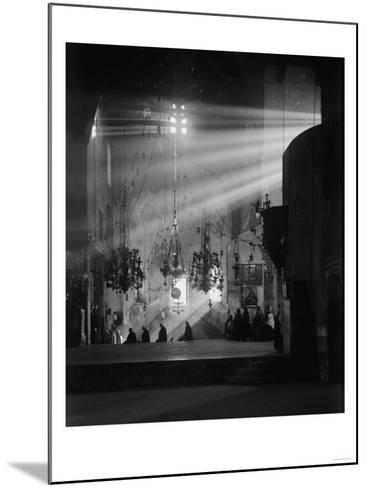 Light Shining in Church of the Nativity Photograph No.1 - Bethlehem, Palestine-Lantern Press-Mounted Art Print