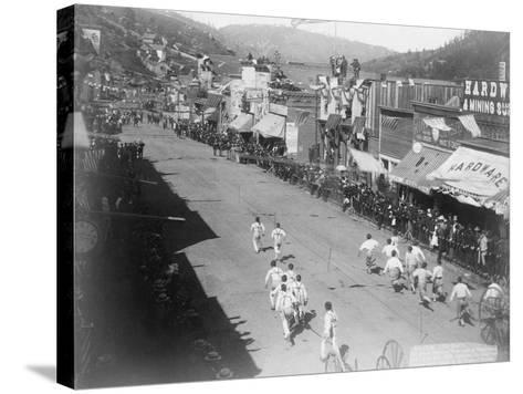 Hub-and-Hub Hose Team Race Photograph - Deadwood, SD-Lantern Press-Stretched Canvas Print