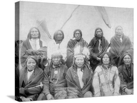 Lakota Indian Chiefs who Met General Miles to End Indian War Photograph - Pine Ridge, SD-Lantern Press-Stretched Canvas Print