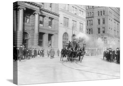 Fire Department's Horse Drawn Engine NYC Photo - New York, NY-Lantern Press-Stretched Canvas Print