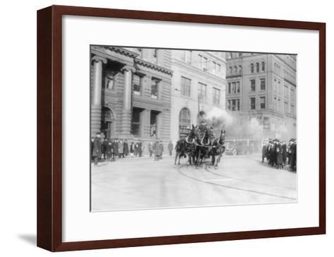 Fire Department's Horse Drawn Engine NYC Photo - New York, NY-Lantern Press-Framed Art Print