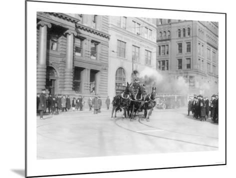 Fire Department's Horse Drawn Engine NYC Photo - New York, NY-Lantern Press-Mounted Art Print