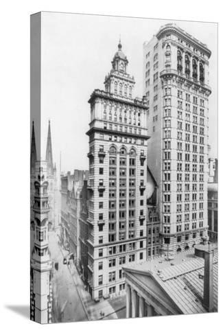 Gillender & Hanover Bank Buildings New York, NY Photo - New York, NY-Lantern Press-Stretched Canvas Print