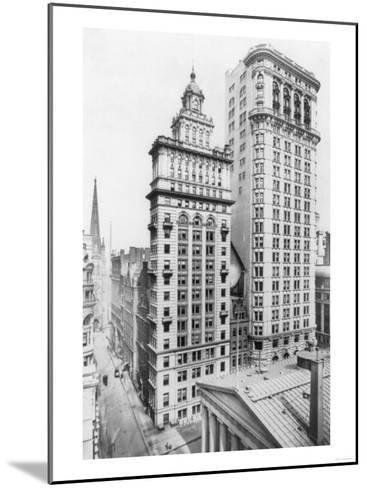 Gillender & Hanover Bank Buildings New York, NY Photo - New York, NY-Lantern Press-Mounted Art Print