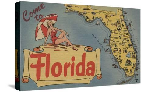 Come to Florida Map of the State, Pin-Up Girl - Florida-Lantern Press-Stretched Canvas Print