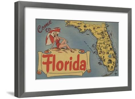 Come to Florida Map of the State, Pin-Up Girl - Florida-Lantern Press-Framed Art Print