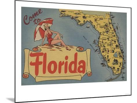 Come to Florida Map of the State, Pin-Up Girl - Florida-Lantern Press-Mounted Art Print