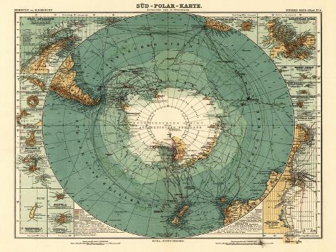 Panoramic Map of Antarctica - Anartica-Lantern Press-Stretched Canvas Print