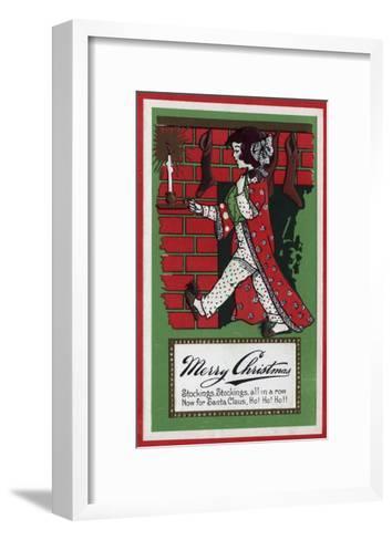 Merry Christmas - Girl Holding Doll and Candlestick-Lantern Press-Framed Art Print
