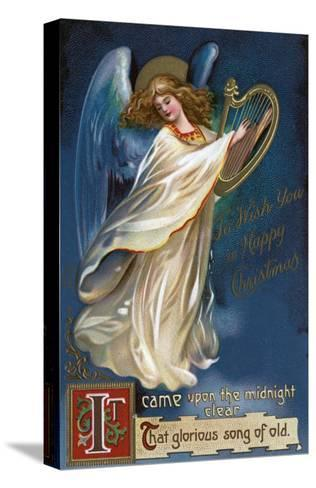 To Wish You a Happy Christmas - Angel with a Harp-Lantern Press-Stretched Canvas Print