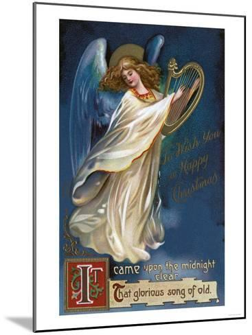 To Wish You a Happy Christmas - Angel with a Harp-Lantern Press-Mounted Art Print