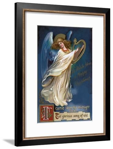 To Wish You a Happy Christmas - Angel with a Harp-Lantern Press-Framed Art Print