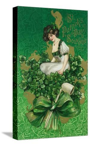 St. Patrick Day Souvenir Woman on Clover Scene-Lantern Press-Stretched Canvas Print