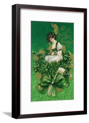 St. Patrick Day Souvenir Woman on Clover Scene-Lantern Press-Framed Art Print