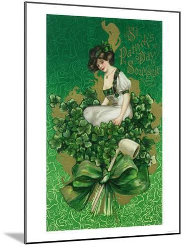 St. Patrick Day Souvenir Woman on Clover Scene-Lantern Press-Mounted Art Print