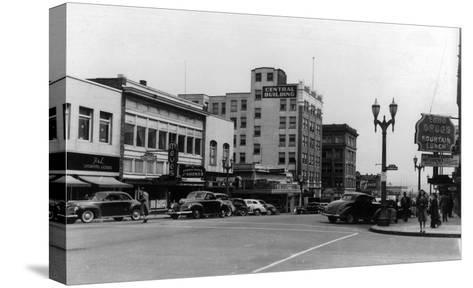 Street Scene, View of Ekho Drugstore - Everett, WA-Lantern Press-Stretched Canvas Print