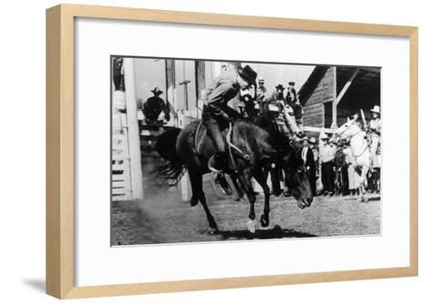 Rough Going at the Ellensburg Rodeo - Ellensburg, WA-Lantern Press-Framed Art Print