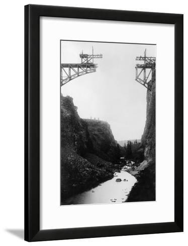 River View of O.T. Bridge Under Construction - Crooked River, OR-Lantern Press-Framed Art Print