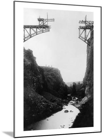 River View of O.T. Bridge Under Construction - Crooked River, OR-Lantern Press-Mounted Art Print