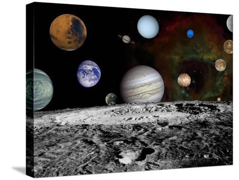 Solar System Montage of Voyager Images Photograph - Outer Space-Lantern Press-Stretched Canvas Print