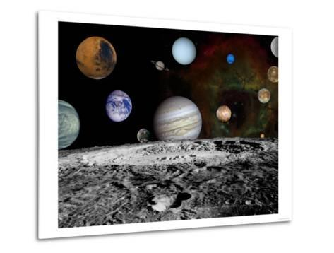 Solar System Montage of Voyager Images Photograph - Outer Space-Lantern Press-Metal Print