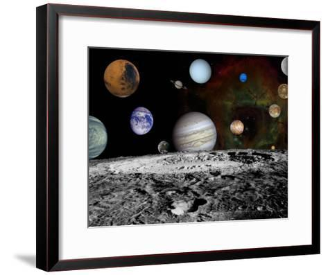 Solar System Montage of Voyager Images Photograph - Outer Space-Lantern Press-Framed Art Print