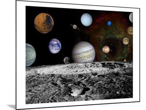 Solar System Montage of Voyager Images Photograph - Outer Space-Lantern Press-Mounted Art Print