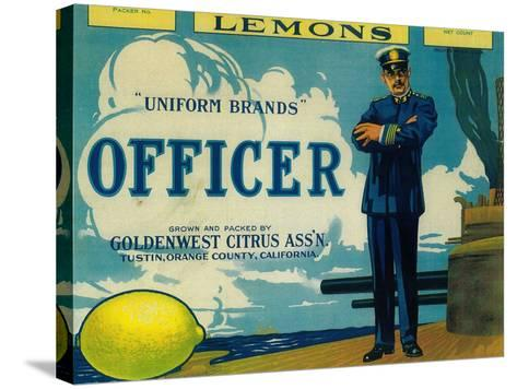 Officer Lemon Label - Tustin, CA-Lantern Press-Stretched Canvas Print